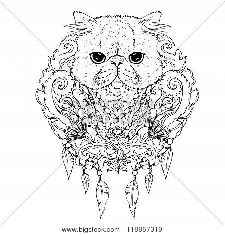 Black and white animal Cat head, abstract art, tattoo, doodle sketch.