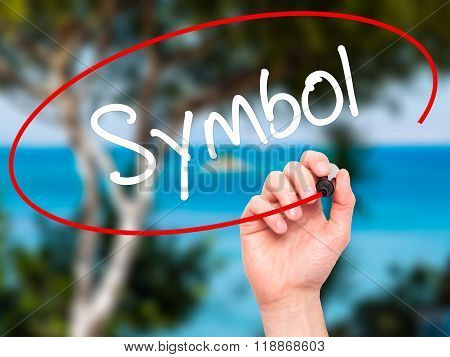 Man Hand Writing Symbol With Black Marker On Visual Screen