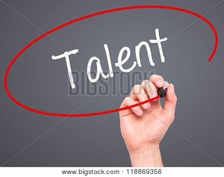 Man Hand Writing Talent  With Black Marker On Visual Screen