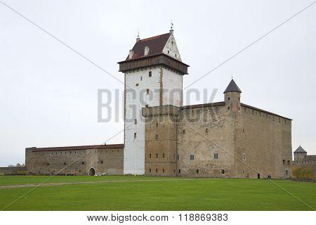 Hermann castle in a autumn day. Narva, Estonia