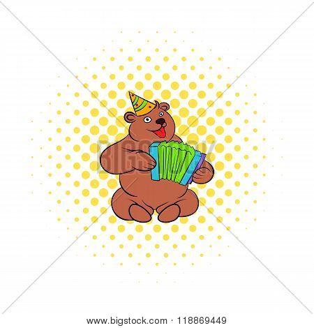 Bear plays the harmonica comics icon