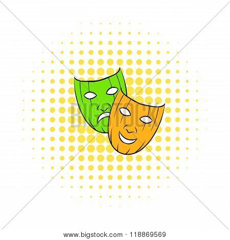 Comedy tragic and comics masks icon