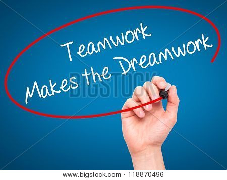 Man Hand Writing Teamwork Makes The Dreamwork With Black Marker On Visual Screen
