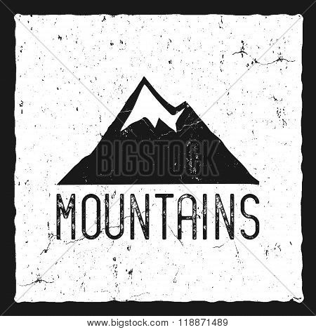 Hand drawn mountain poster. Wilderness old style typography label. Letterpress Print Rubber Stamp Ef