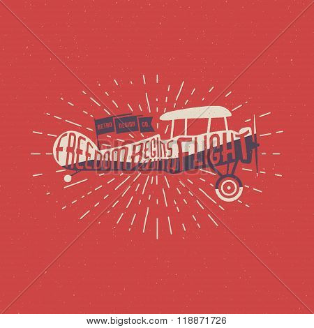 Vintage airplane lettering for printing. Vector old school aircraft poster. Retro air show t shirt p