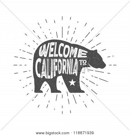 Vintage California Republic bear with sunbursts. Welcome to California sign. Grunge effect. Isolated