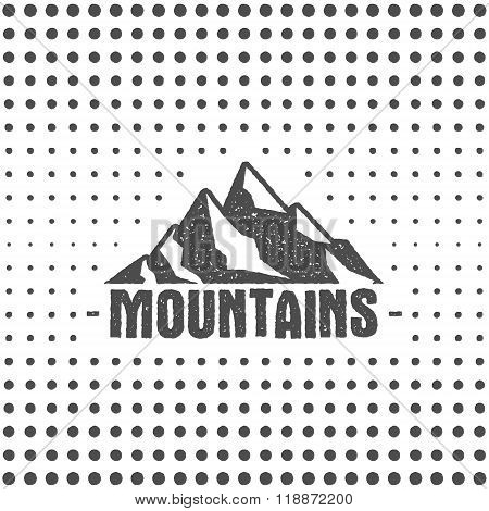 Hand drawn wilderness old style typography poster with retro mountains. Letterpress Print Rubber Sta