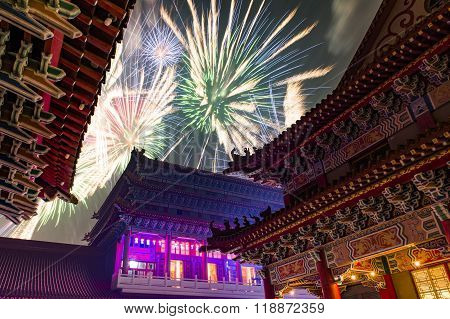 Taiwan's traditional Lantern Festival , fireworks celebrate temple