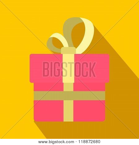 Pink gift box with a colden ribbon flat icon
