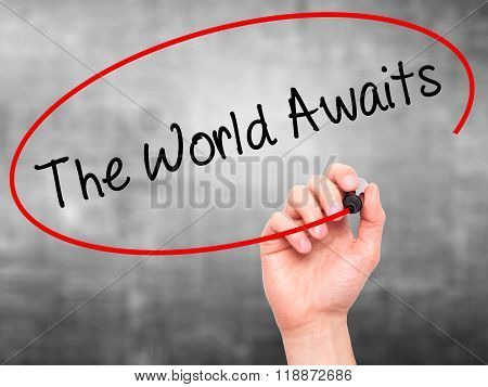 Man Hand Writing The World Awaits With Black Marker On Visual Screen