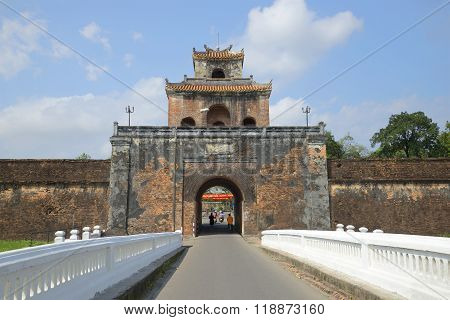 Old city, gate of Hue citadel. Vietnam