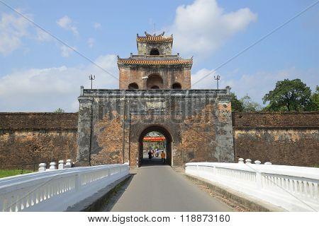 Old city, gate of Hue citadel. Vietnam