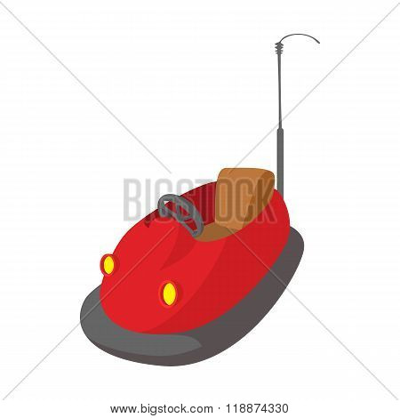 Bumper cars in amusement park cartoon icon