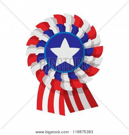 Ribbon rosette in the USA flag colors cartoon icon