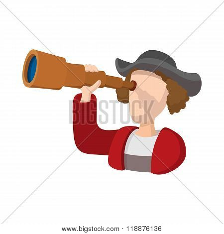 Christopher Columbus costume with spyglass icon