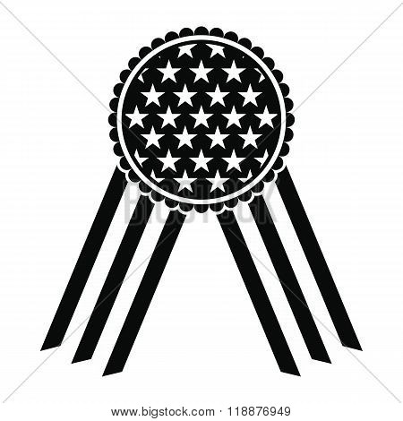 Ribbon rosette in the USA flag icon