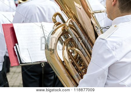 Musician Are Playing A Brass Bass Tuba In Military Orchestra
