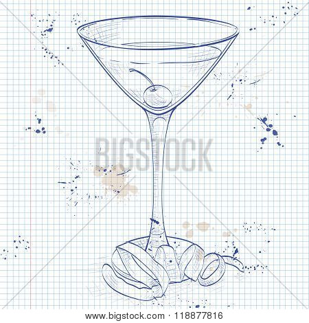 Tuxedo cocktail on a notebook page