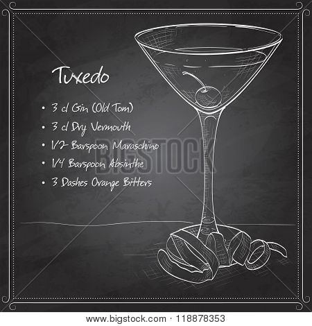 Tuxedo cocktail on black board
