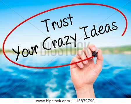 Man Hand Writing Trust Your Crazy Ideas With Black Marker On Visual Screen