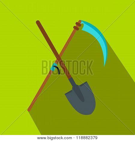 Scythe and shovel flat icon