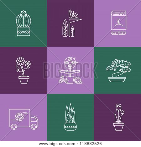 Set of linear icons for Flower or Florist shop.