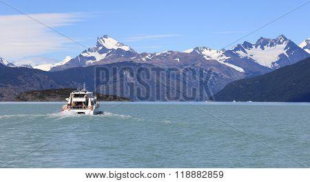 Ship in a glacial lake