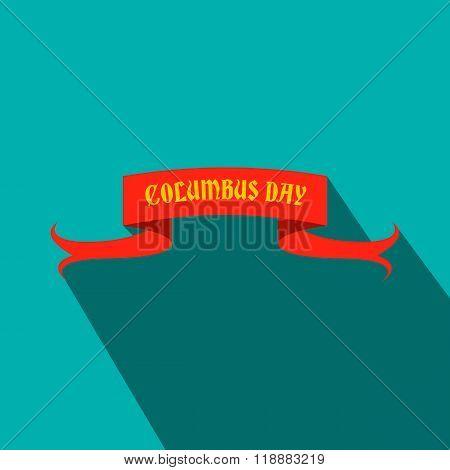 Columbus Day ribbon flat icon