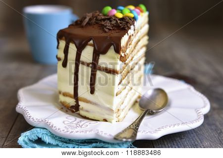 Piece Of Layered Cale With Whipped Cream And Mascarpone.