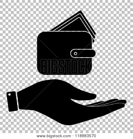 Wallet sign. Flat style icon