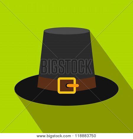 Gorgeous pilgrim hat flat icon with shadow