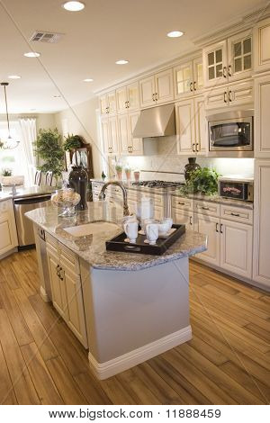 Modern kitchen with granite countertops