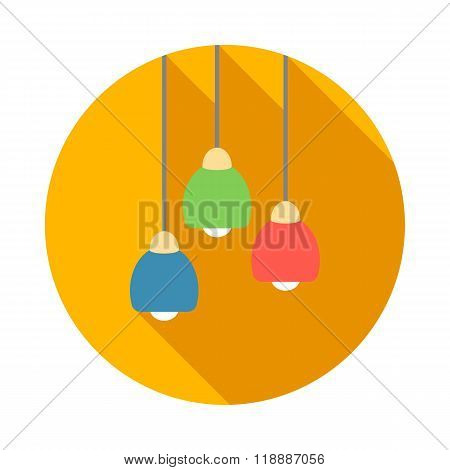 Three color modern ceiling light icon, flat style