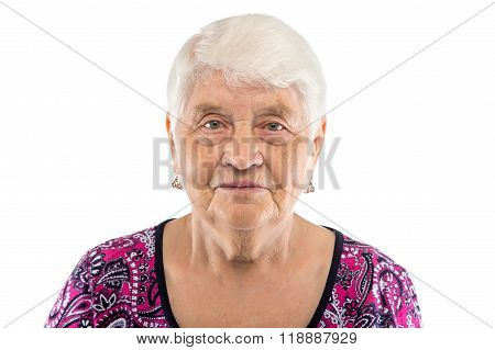 Serious elderly woman with white hair