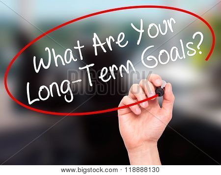 Man Hand Writing What Are Your Long-term Goals? With Black Marker On Visual Screen