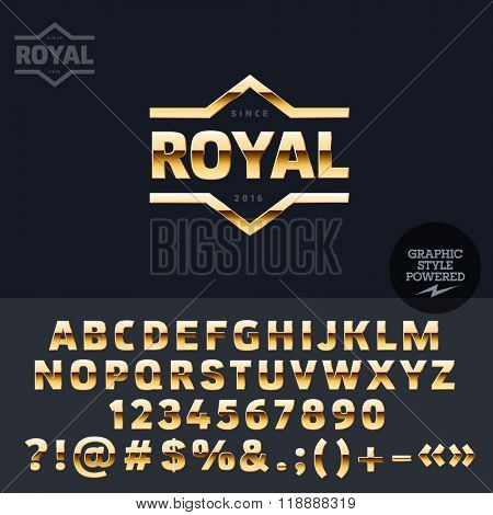 Golden logotype for vip club. Vector set of letters, numbers and symbols.