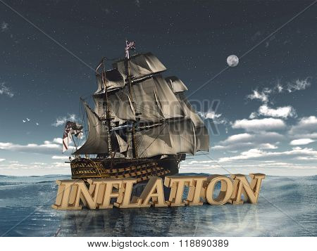Inflation  Bright Word, Night Sky, Boat, Moon, Sea