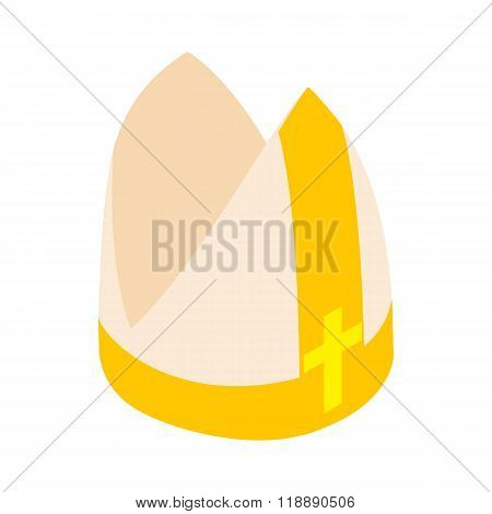 Papal tiara, hat with cross icon, isometric 3d