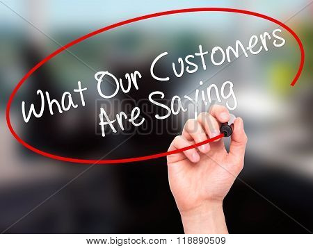 Man Hand Writing What Our Customers Are Saying With Black Marker On Visual Screen