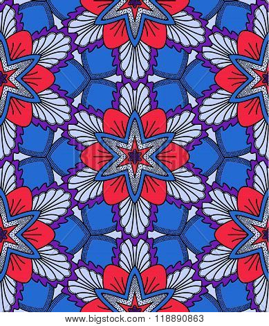 Blue and Red Flower Pattern