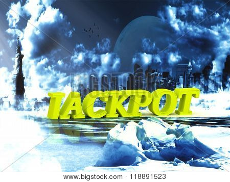 Jackpot  Bright Word, Night Sky, Town, Moon, Winter