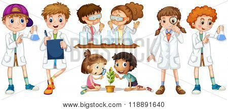 Boys and girls in science gown illustration