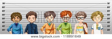 Men being suspected for crime illustration