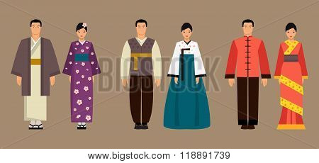 Asian Men And Women In National Costumes. Vector Illustration