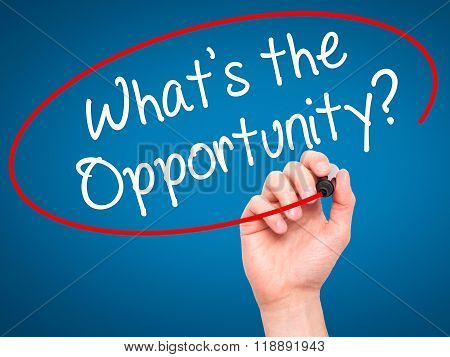 Man Hand Writing What's The Opportunity?  With Black Marker On Visual Screen