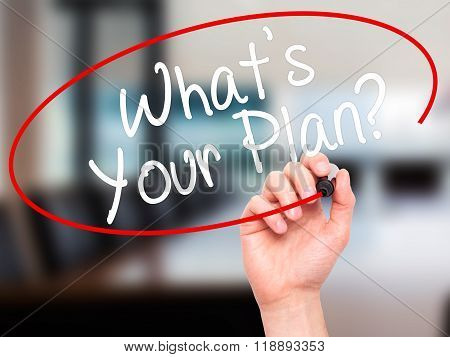 Man Hand Writing Whats Your Plan? With Black Marker On Visual Screen