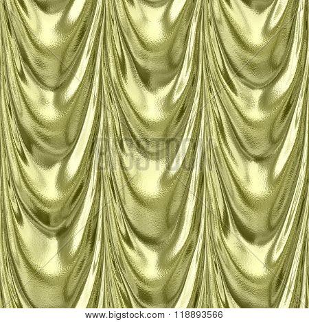 Gold Yellow Textile Drapery Seamless Pattern
