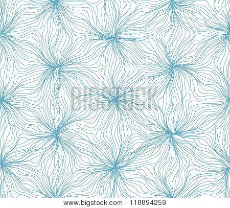 Seamless hexagon lines wavy flower pattern blue on white