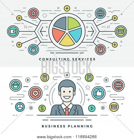 Flat line Services and Business Planning Concept Vector illustration. Modern thin linear stroke vect