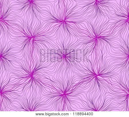 Seamless hexagon lines wavy flower light purple